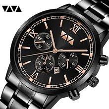 VA VA VOOM Men's Big Dial Fashion Stainless Steel Watch Business Casual Calendar Quartz Watch Waterproof Watch топ voom