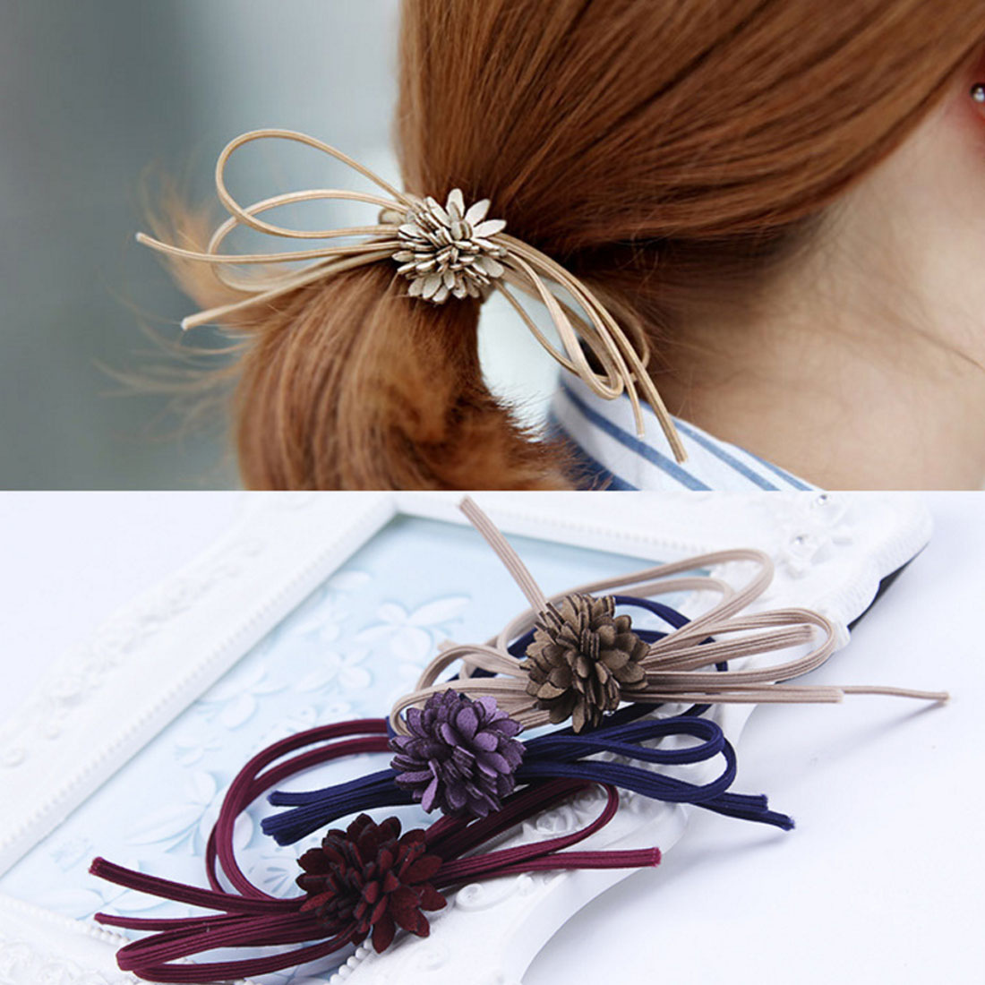String Bow Flower Hair Rope For Girls Headwear Simple Double String Bow-knot Hair Accessories Elastic Hair Band bow 929054