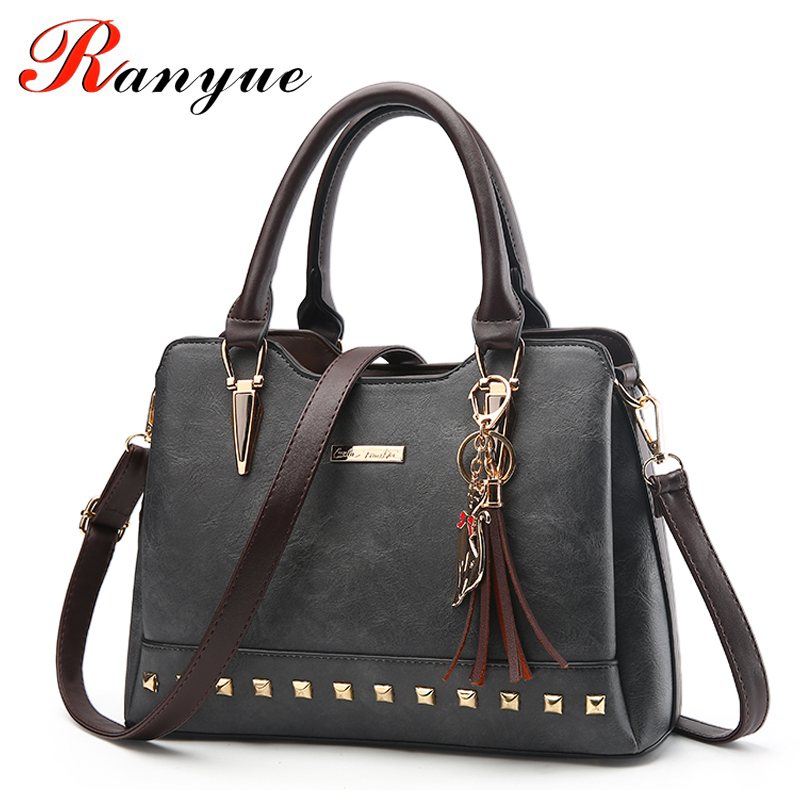 RANYUE Brand Design Women Luxury Handbags Female Tassel Sequined Messenger Bag Quality Leather Tote Solid Zipper Evening Bags micocah brand new arrival women messenger pu leather bag design with tassel solid color brand bag withe zipper bags gl30015