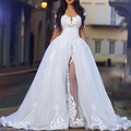 Arabic Middle East wedding dresses with Detachable Train   Sheer Sweetheart vestido de novia robe de mariage