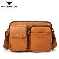 Hot Summer Genuine Leather Sling Bag For Men Casual Business Brown Vintage Shoulder Mens Bags Zipper Crossbody Bags Bolsa Male
