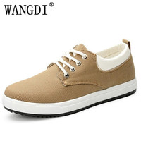 Men Shoes New 2017 Spring Canvas Men Casual Shoes Breathable Round Lace Up Flats British Style