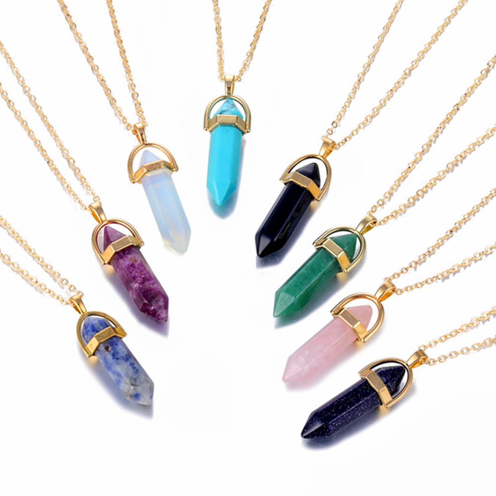 Fashion Opal Stone Hexagonal Column Quartz Necklaces Natural Pink Crystal Pendant Necklace Statement Bohemian Jewelry for Women in Pendant Necklaces from Jewelry Accessories