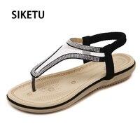 Summer Style Sweet Women Sandals 2017 Bohemian Fashion Bling Crystal Rhinestones PU Casual Flats For Woman