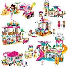Legoes девушки приморский пляж горка парк развлечений дом вечерние Дельфин спасательные строительные блоки наборы блоки, Друзья детские игрушки