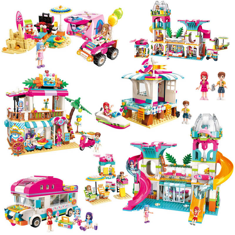 Legoes Girls Seaside Beach Slide Amusement Park House Party Dolphin Rescue Building Blocks Sets Bricks Friends Children Toy