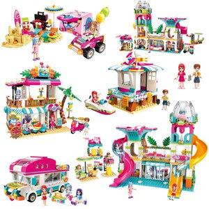 Image 1 - Dziewczyny nad morzem plaża zjeżdżalnia Park rozrywki dom Party Dolphin Rescue zestawy klocków budowlanych cegły przyjaciele zabawka dla dzieci