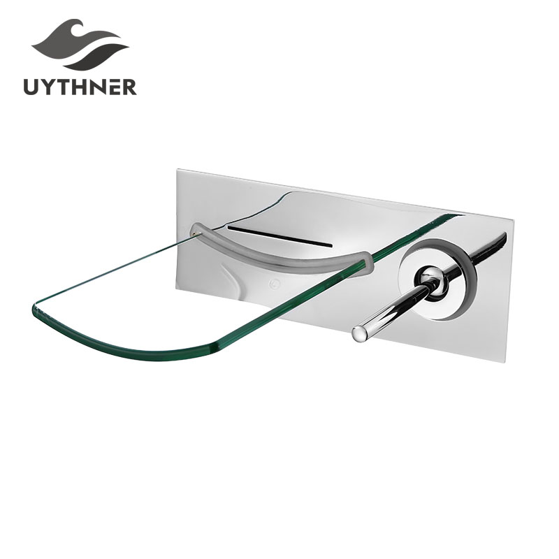 Newly US Free Shipping Wholesale And Retail Wall Mounted Chrome Finish Waterfall Bathroom Tub Faucet Glass Spout Single Handle wholesale and retail chrome finish bathroom wall mounted basin sink countertop faucet