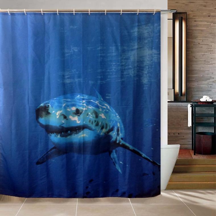 Shark Cartoon Shower Curtain Sea Underwater World 3D Fish Polyester ...