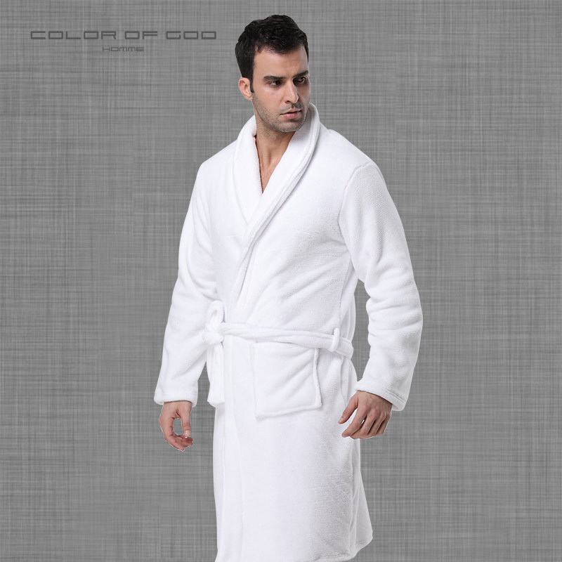 Brand Winter Mens Bathrobe Thick Warm Coral Fleece Night Dressing Gown Pure  White Ropa Hombre Bath Robe Comfort Homme Kimono ebf34022a