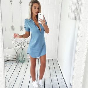 2020 Women Fashion Summer Casual Jeans Dress Short Sleeve High Quality Solid Denim Turn Down Collar Mini Party Dress(China)