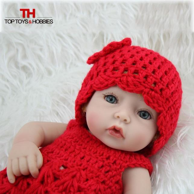 28cm Doll Reborn Baby Doll Girl Blonde Hair Soft Silicone Body Looking Real Boneca Babies Girls