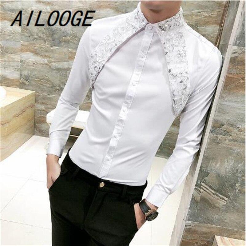AILOOGE High Quality Korean Shirt Men Fashion Spring Summer Sexy Lace Men Shirt Long Sleeve Night Club Singer Costume Shirt