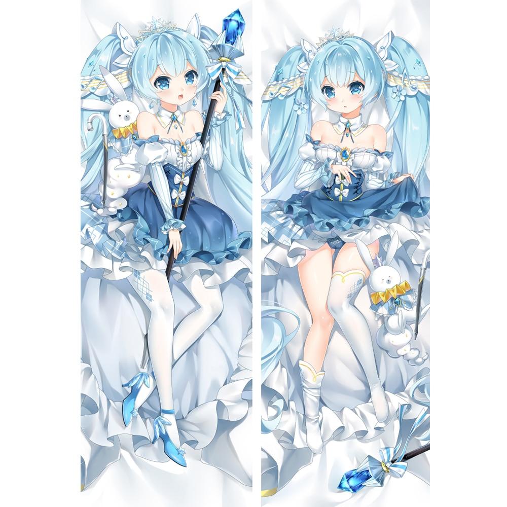 2019 snow miku  Racing Miku Hatsune Bunny Hugging Body Pillow Cover case kimono miku decorative pillowcases title=