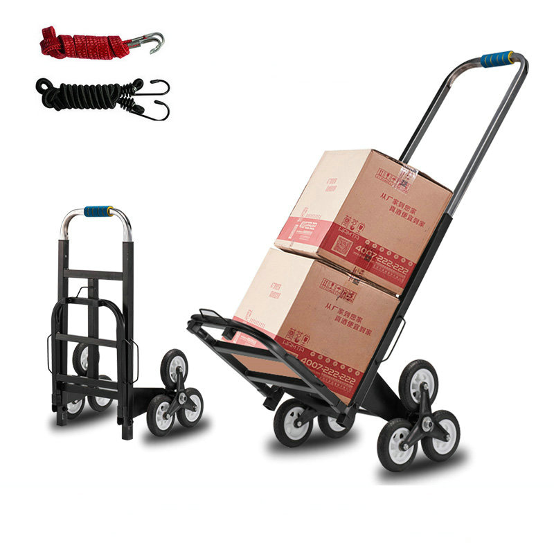 Portable Stair Climber Cart, 6 Rubber Wheels Folding Stair Climbing Cart, Household Shopping Cart Steel Pipe Hand Truck