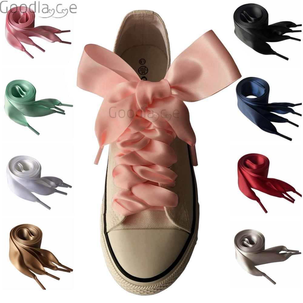 4cm Extra Wide Satin Shoelaces Flat Ribbon Laces for Sneaker Sport Shoes 130cm/51Inch