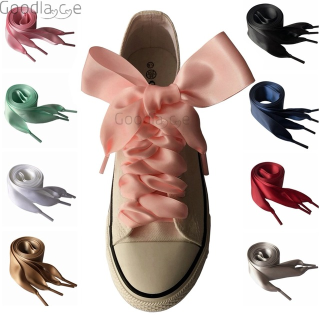 4419149eaf7 4cm Extra Wide Satin Shoelaces Flat Ribbon Laces for Sneaker Sport Shoes  130cm 51Inch