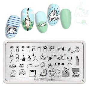 Image 5 - BORN PRETTY Animal Rectangle Nail Stamping Plates Cute Cats Nail Art Image Stencil Animal Theme L003