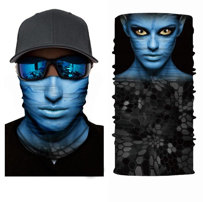 Mr.Kooky 3D Avatar Face Sun Mask Neck Gaiter Headwear Funny Cool Magic Scarf Balaclava Bandana Shield Headband Men Women Fishing