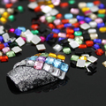 12 Colors 3D Square 3mm  Flatback Shiny Rhinestone Nail Art Salon Stickers Tips DIY  Decorations with  Wheel 5VZD 7H35