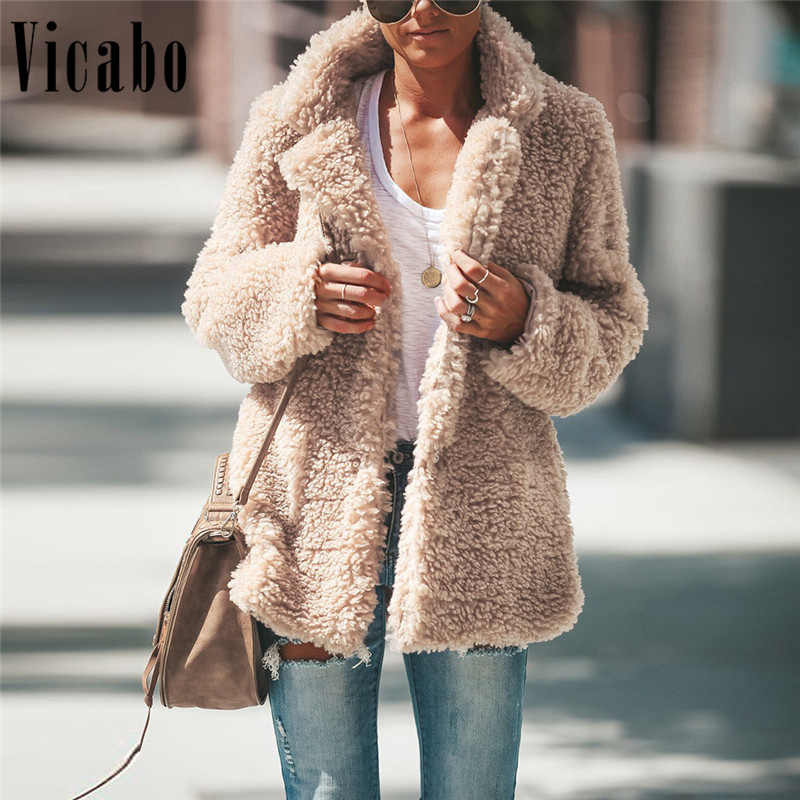 1b71f6f941b Vicabo Fluffy Faux Fur Coat Women Teddy Coat Warm Autumn Winter Outwear Jacket  Plus Size Overcoat