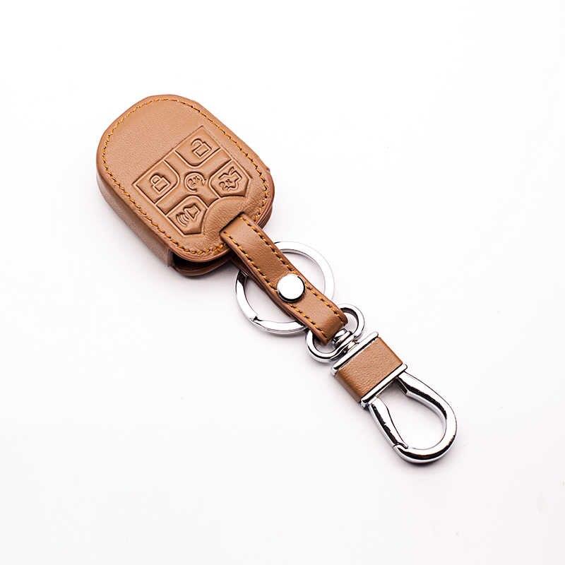 سيارة حقيقية الجلود حقيبة التحكم عن بعد سيارة مفتاح سلسلة مفتاح غطاء حالة لفورد إكسبلورر السيارات مفتاح باقة 5 أزرار سيارة محفظة