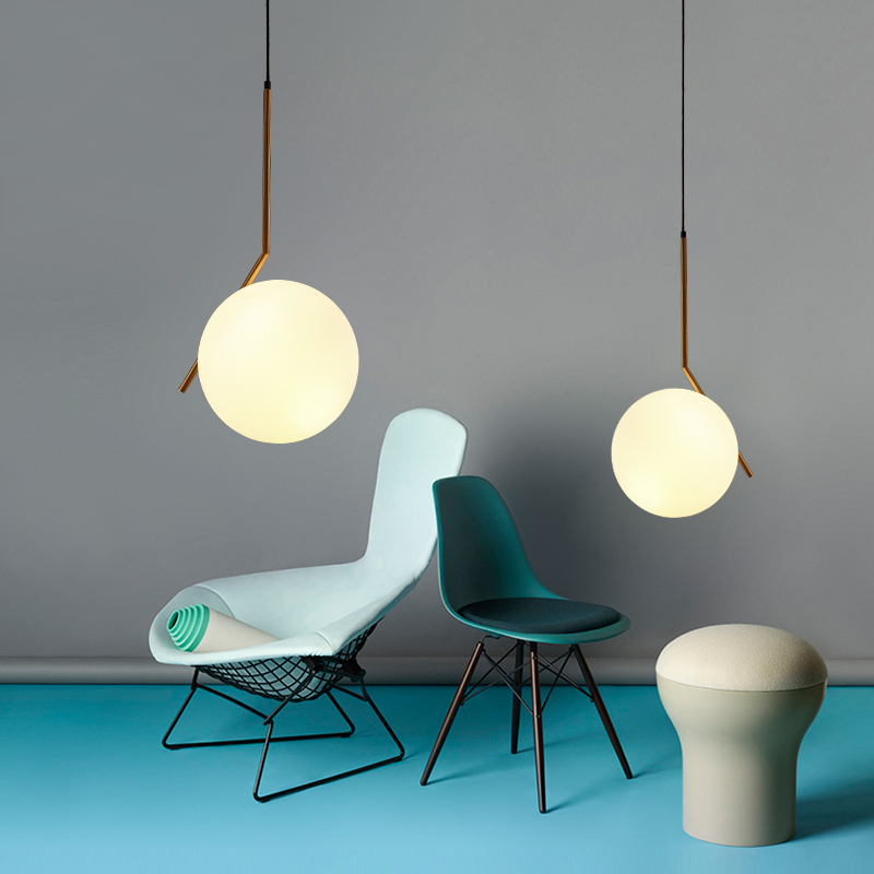 Modern minimalist restaurant chandelier Nordic glass ball single head bedroom Pendant lamp bar Lights hanging lights z best price minimalist restaurant bar chandelier single head lamp creative balcony flower pot lamp hanging garden lightings