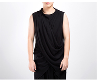 2018 New Mens Hipster Hip Hop Sleeveless Front Cross Wrap Tank Tops Solid Chinese Style Streetwear