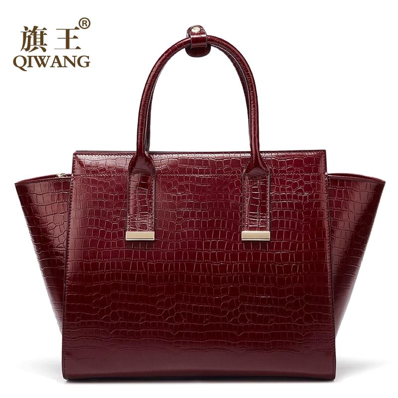 Luxury Handbags Women Bags Designer Genuine Leather Female Handbag Hot Red Wine Crocodile Ladies Bag For