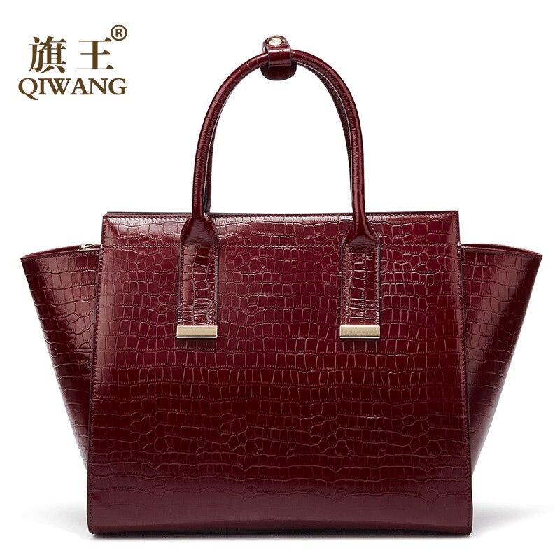 Luksusowe torebki damskie torby projektant prawdziwej skóry torebka damska gorące czerwone wino krokodyla panie torba dla kobiet bolsa feminina w Torebki na ramię od Bagaże i torby na  Grupa 1