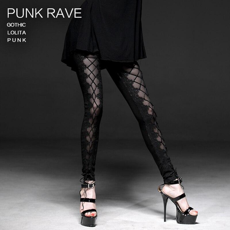 PUNK RAVE gothique Lolita Sexy banagé femmes Leggings mode noir rue Punk vêtements évider Slim Fit Skinny pantalon