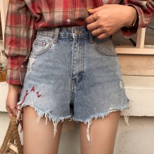 Letter Embroidery Brushed Hem Fayed Hole Tassel Denim High Waist Shorts Women Summer Casual Streetwear Jeans Short Pants Female