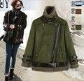 Frete grátis 2016 a nova lã de cordeiro camurça de pele motorcycle jacket parágrafo curto fino casaco mais grosso as mulheres / S-XXL