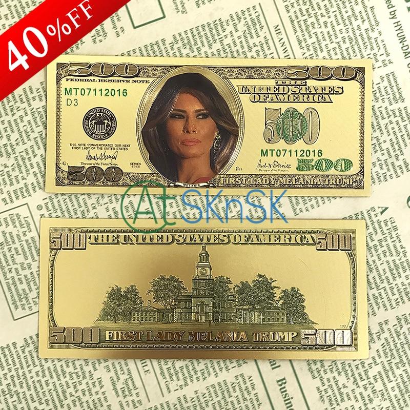 24k zlaté bankovky 500 dolarů barevné bankovky falešné peníze Americká první dáma Melania fólie papírové peníze bankovky řemeslo