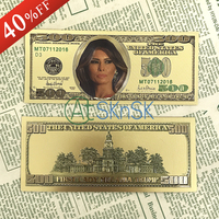 24k Gold Banknotes 500 Dollars Colorful Bills Plated Fake Money The American First Lady Melania Foil Paper Money Banknotes Craft