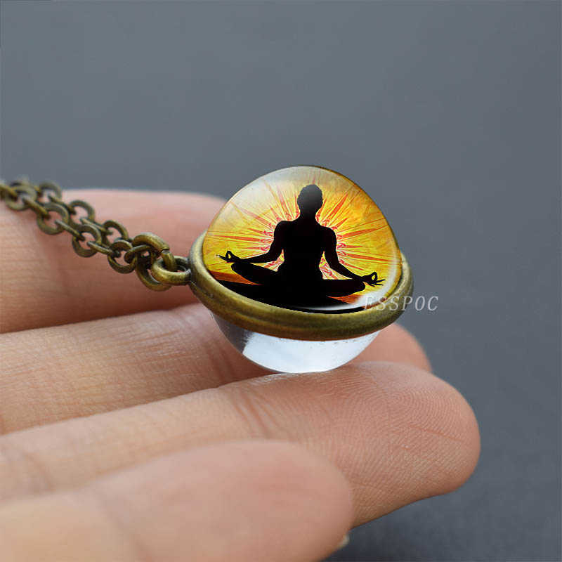 7 Chakra Simboli Collana Meditazione Guarigione Doppio Lato di Vetro Sfera di Cristallo Collane con pendente Chakra Gioielli