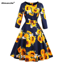 Himanjie Plus Size Dress half Sleeve Cotton Sunflowers Print Floral Autumn Retro Swing belt Vintage Elegant Dresses S-4XL