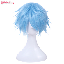 L email Peluca de Cosplay Kuroko no Basket para hombre, peluca corta de pelo sintético azul claro de 30cm
