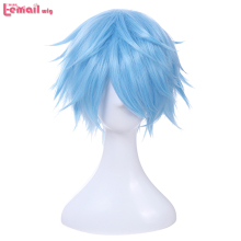 L-email wig Brand New Men Cosplay Wig 30cm/11.8inches Short Light Blue Heat Resistant Synthetic Hair Perucas Cosplay Wig for Men l email wig new fgo game character cosplay wigs 10 color heat resistant synthetic hair perucas men women cosplay wig