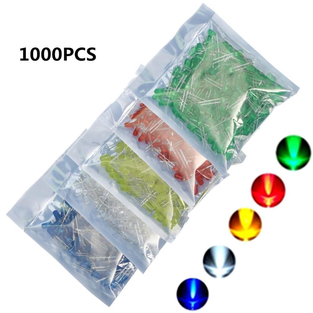 Freies Verschiffen 1000 Stücke 5mm LED Blau Grün Gelb Rot Weißen Runden LED-Diode Mischfarbe Kit 5 Farben 200 stücke/farbe