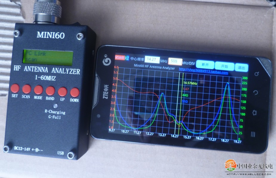 USB High Precison bluetooth Android HF ANT SWR Analyzer 1-60MHz Mini60 Antenna Meter For Ham Radio