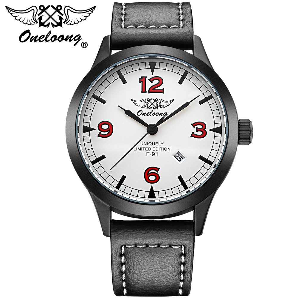 Mens Watches Top Brand Luxury Oneloong Fashion Men Sports Watch Japanese Quartz Date Simple Leather Strap Casual Wristwatch mens watch top luxury brand fashion hollow clock male casual sport wristwatch men pirate skull style quartz watch reloj homber