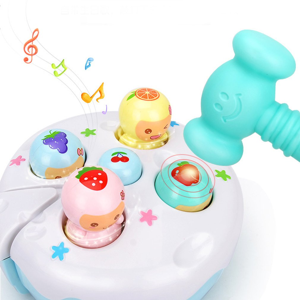Baby Handheld Whack-a-mole Game Machine Electric Hamster Toy Sound LightFruit Cake Knocking Music Game Early Educational Toys