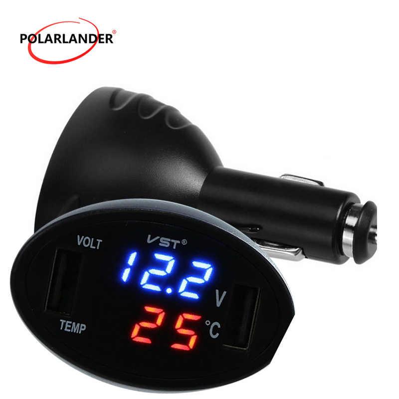 Misuratore di Temperatura Digitale Led 3in1 Caricabatteria da Auto Dual Usb Auto Voltmetro Termometro Accendisigari