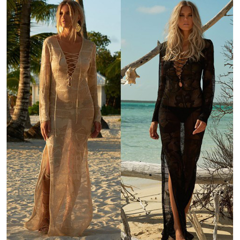Pareo Beach To Swimsuit Coverup And Tunics Dresses Lace Cover Up Coverups The Long Dress 2018 New Knitted Skirt Loose Female [eam] high quality 2018 autumn spliced organza loose lace up long section double layer collar plaid skirt fashion new set la406