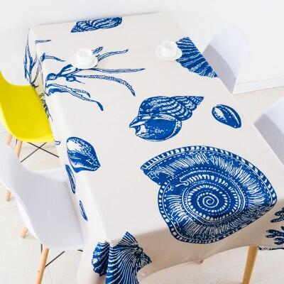 Saint-jacques méditerranéen conque nappe linge nappes couverture serviette épaisse rectangulaire antependium salle à manger décoration bleu