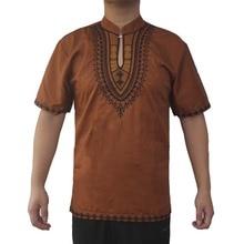Africa Embroidery Men`s Dashiki Tops Mandarin Neck Slim Ethnic Shirts for Summer Wearing