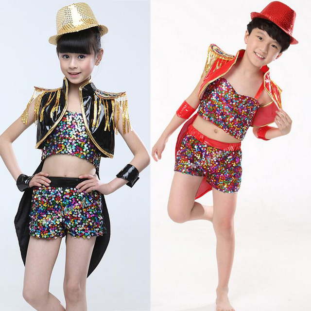 3c249d547 Girls Boys Gold Black Ballroom Jazz Hip Hop Dance Competition ...