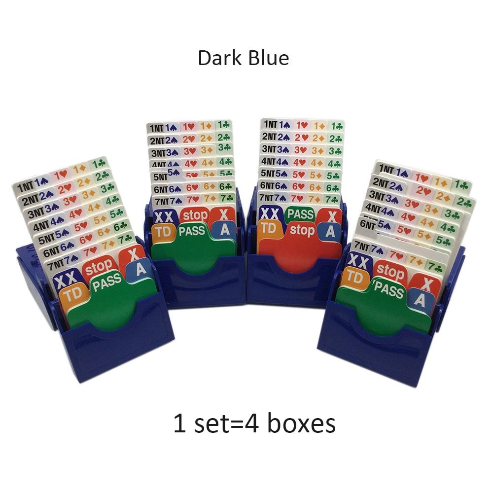 (Set of 4) Blue Bridge Partner Bidding Device Bridge Bidding Box with Bridge Playing Cards Official In Tournment Texas Holdem
