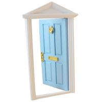 ABWE Best Sale 1 12 Dollhouse Miniature 4 Panel Exterior Wooden Door Steepletop With Hardware Knockplate
